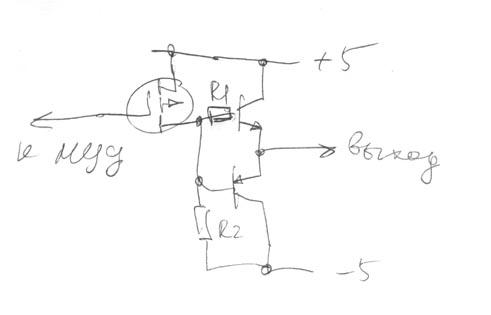 Идея простая.  Если на входе схемы 1, то полевик закрыт, ток течет через нижний эмиттерный повторитель...